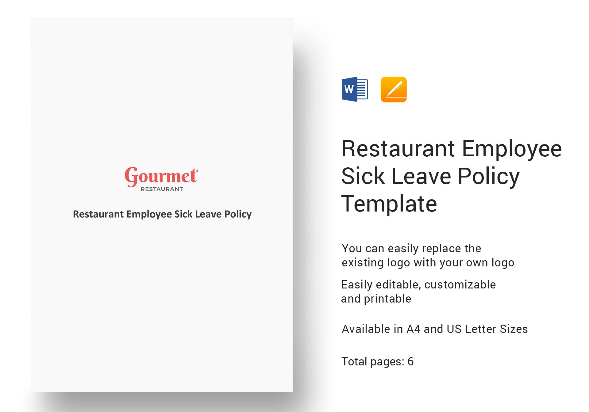 Restaurant Employee Sick Leave Policy Template In Word Apple Pages