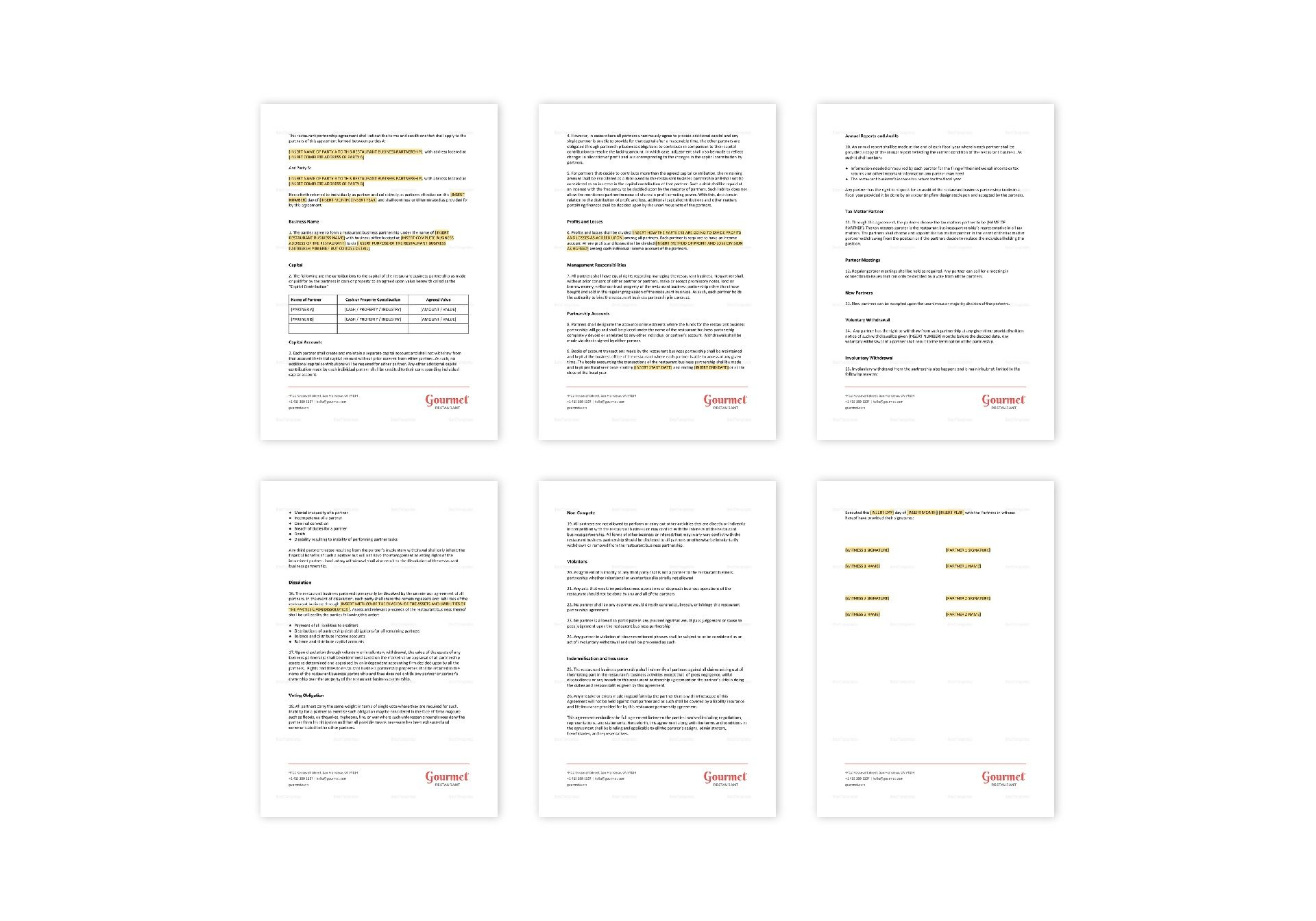 Restaurant Partnership Agreement Template In Ms Word Pages