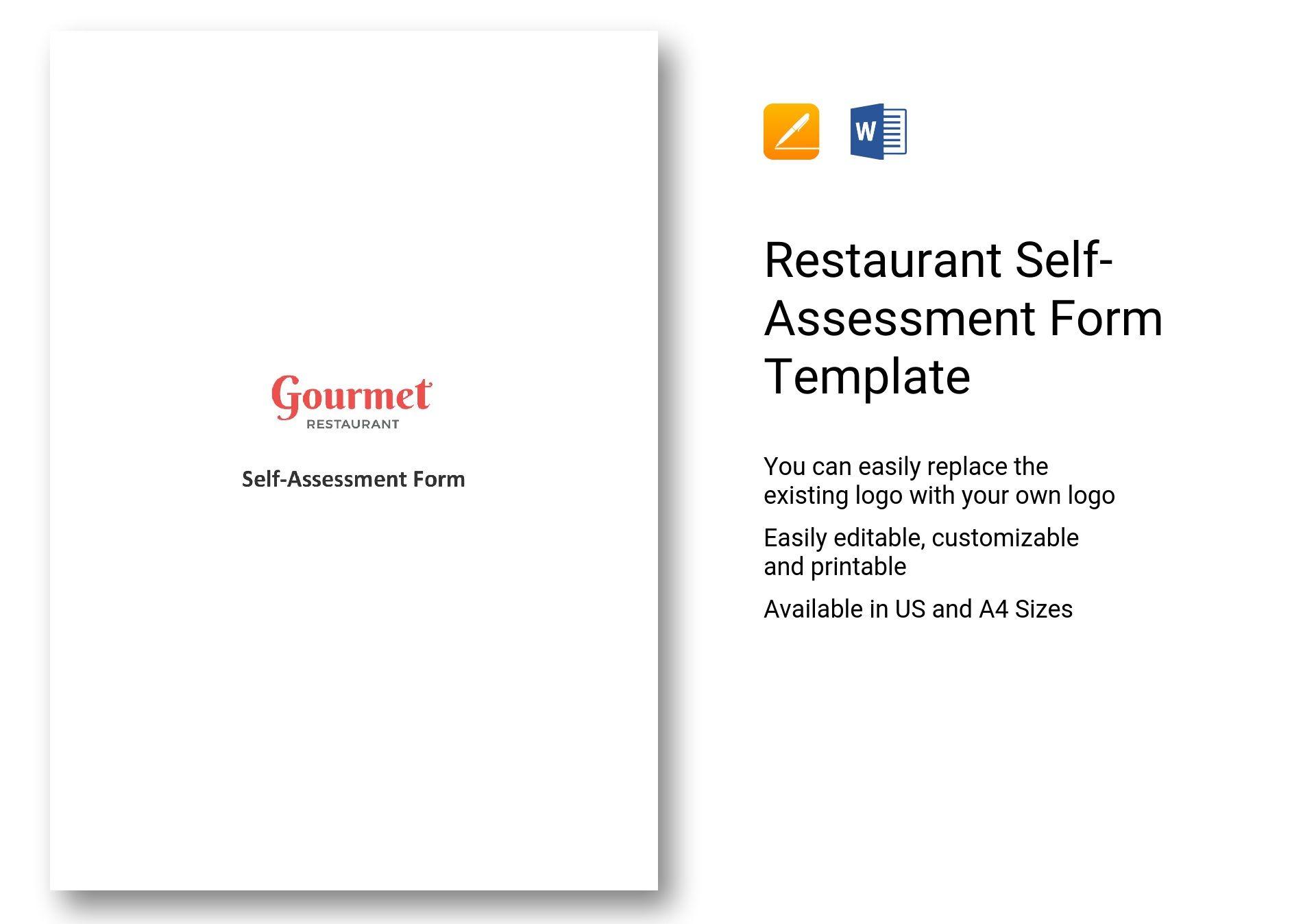 Restaurant Self-Assessment Form