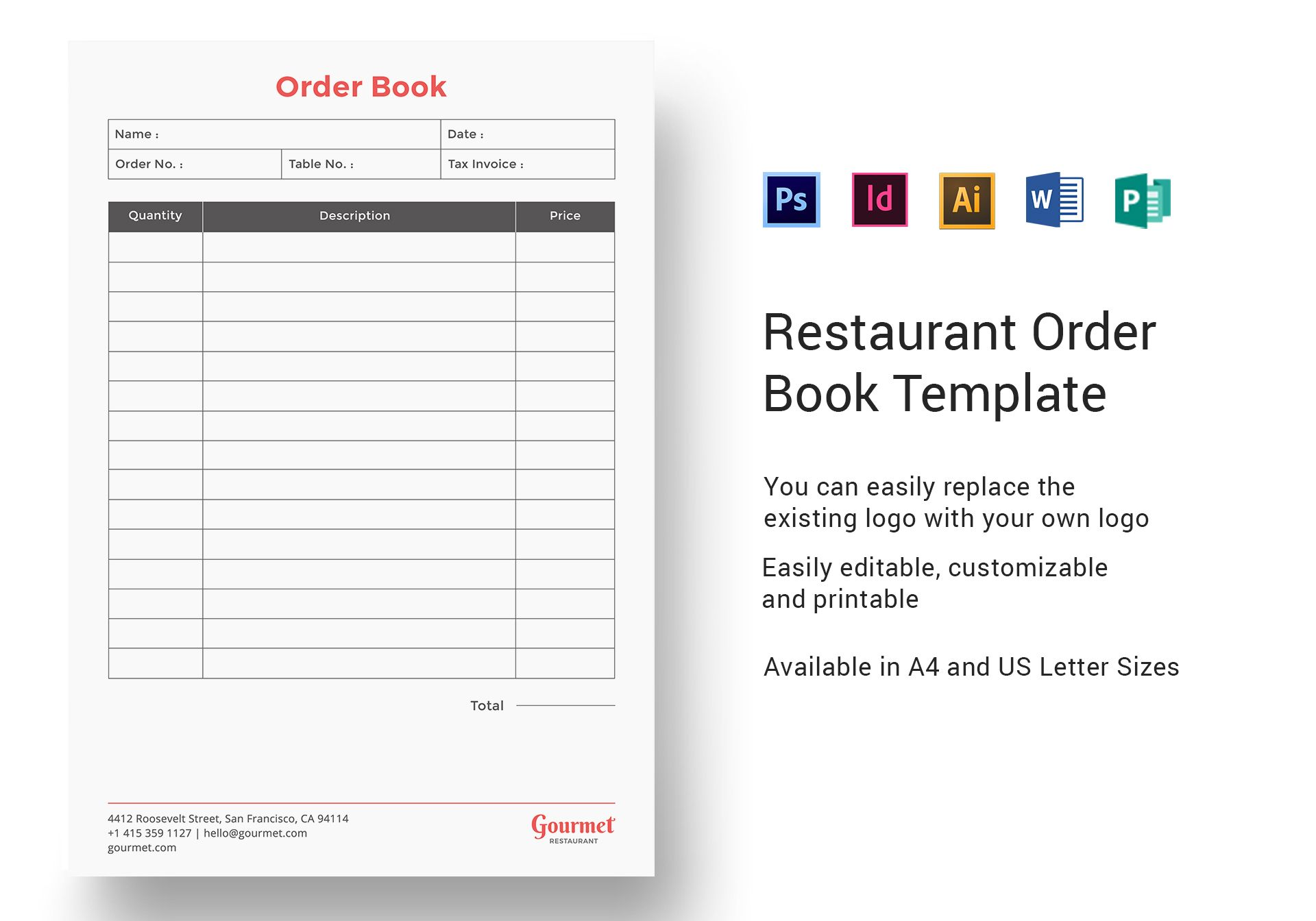 Restaurant Order Book Template in PSD, Word, Publisher ...