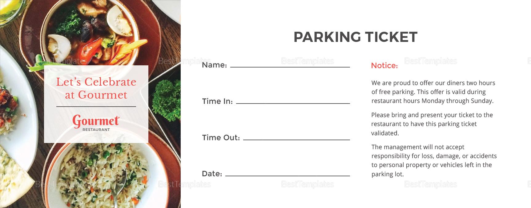 Restaurant Parking Ticket Template