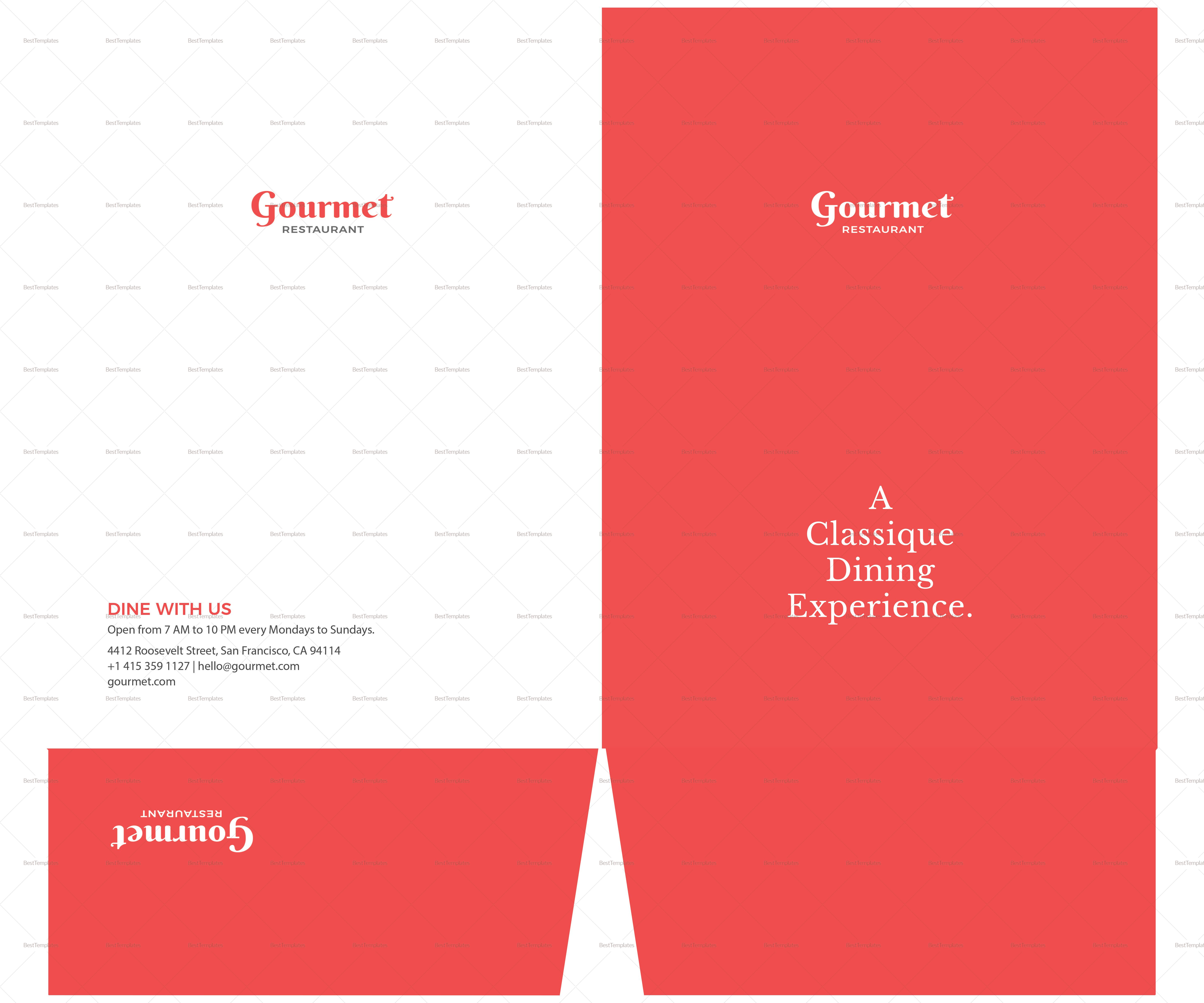 Simple Restaurant Letter Presentation Folder Template