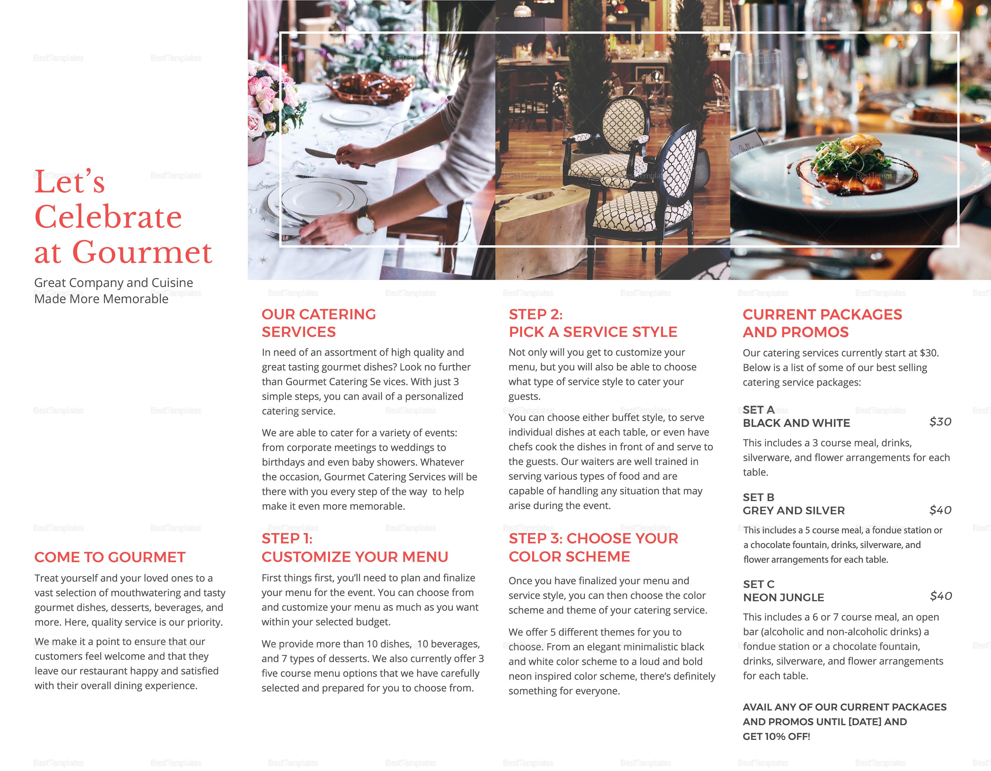 Restaurant Catering Brochure Bifold Template Inner