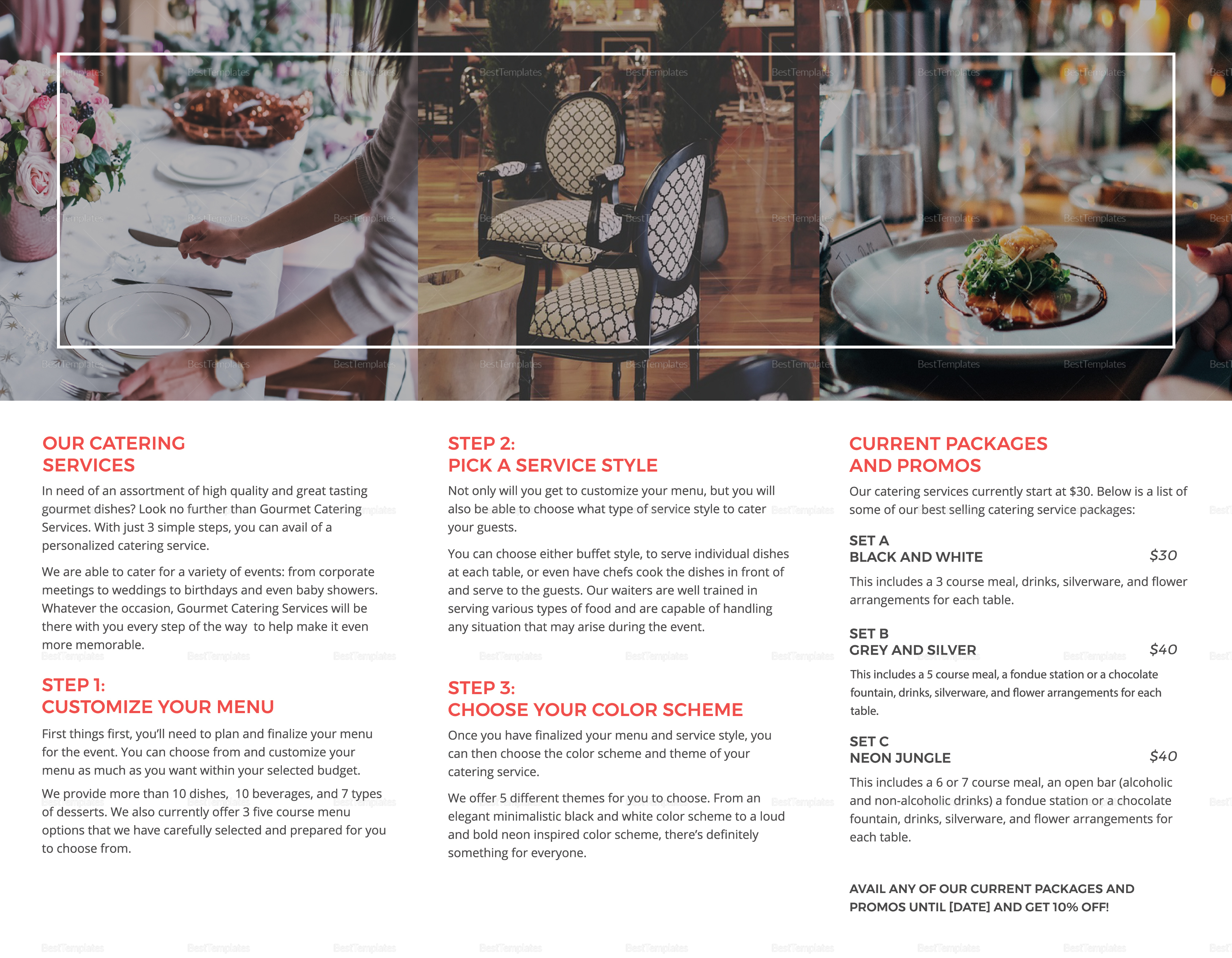 Restaurant Catering Brochure Template in PSD, Word ...
