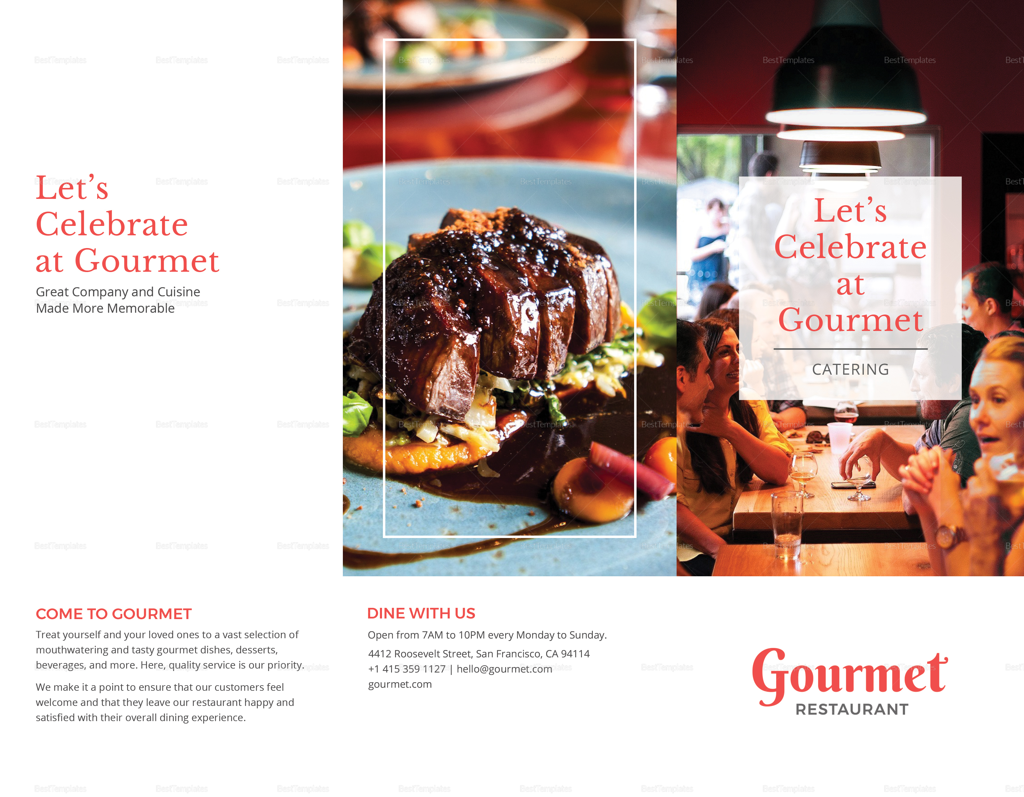 Restaurant Catering Brochure Trifold Template Outer