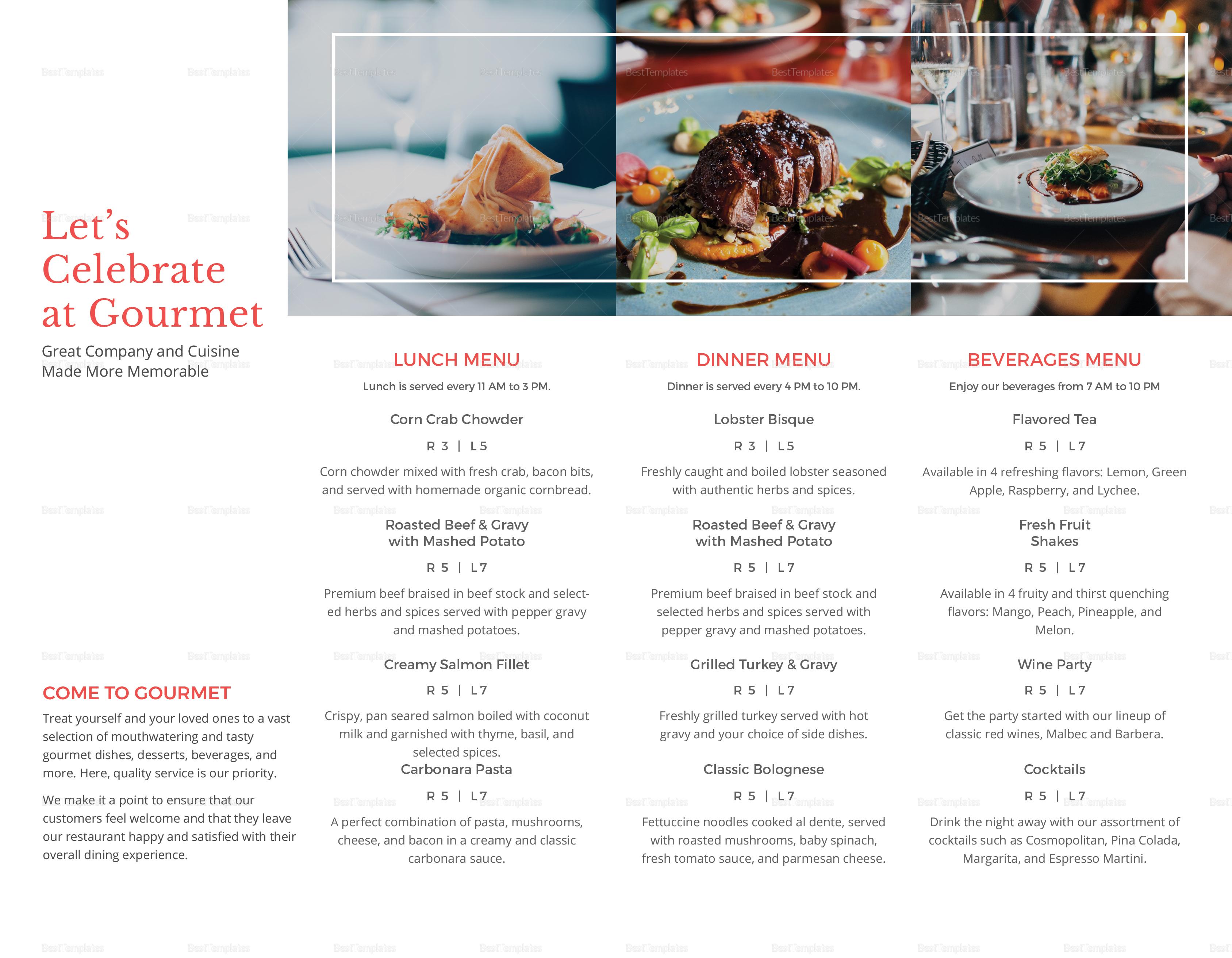 Sample Restaurant Take Out Brochure Bifold Template Inner