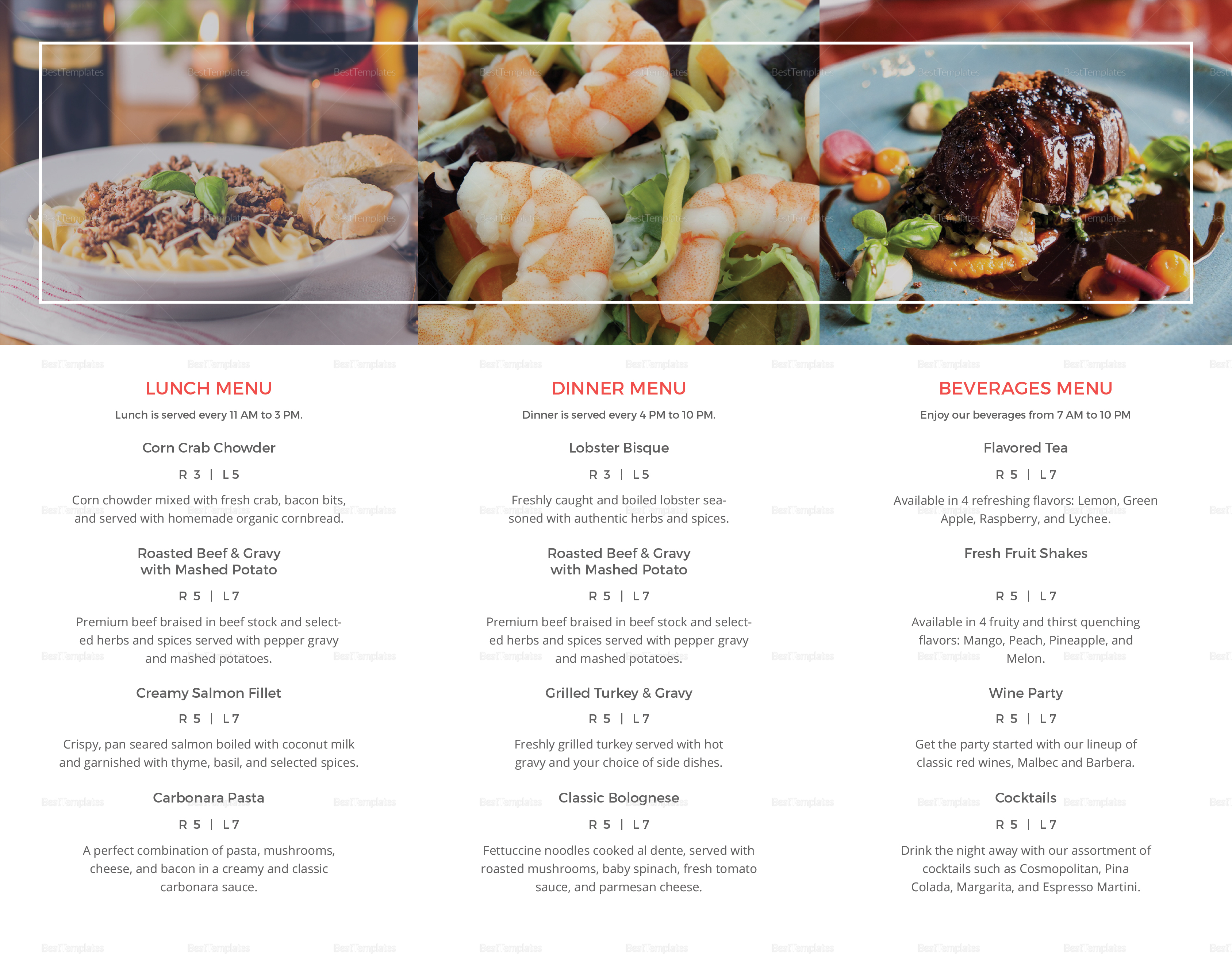 Simple Restaurant Take Out Brochure Trifold Template Inner