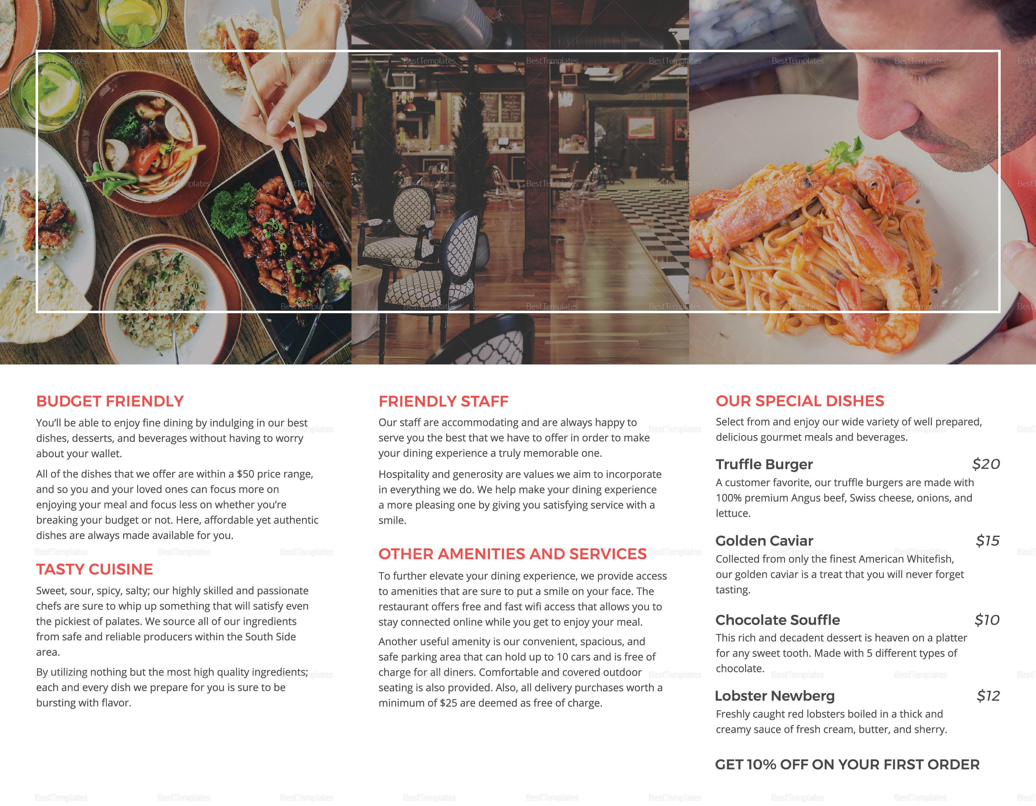 Restaurant Marketing Brochure Trifold Inner