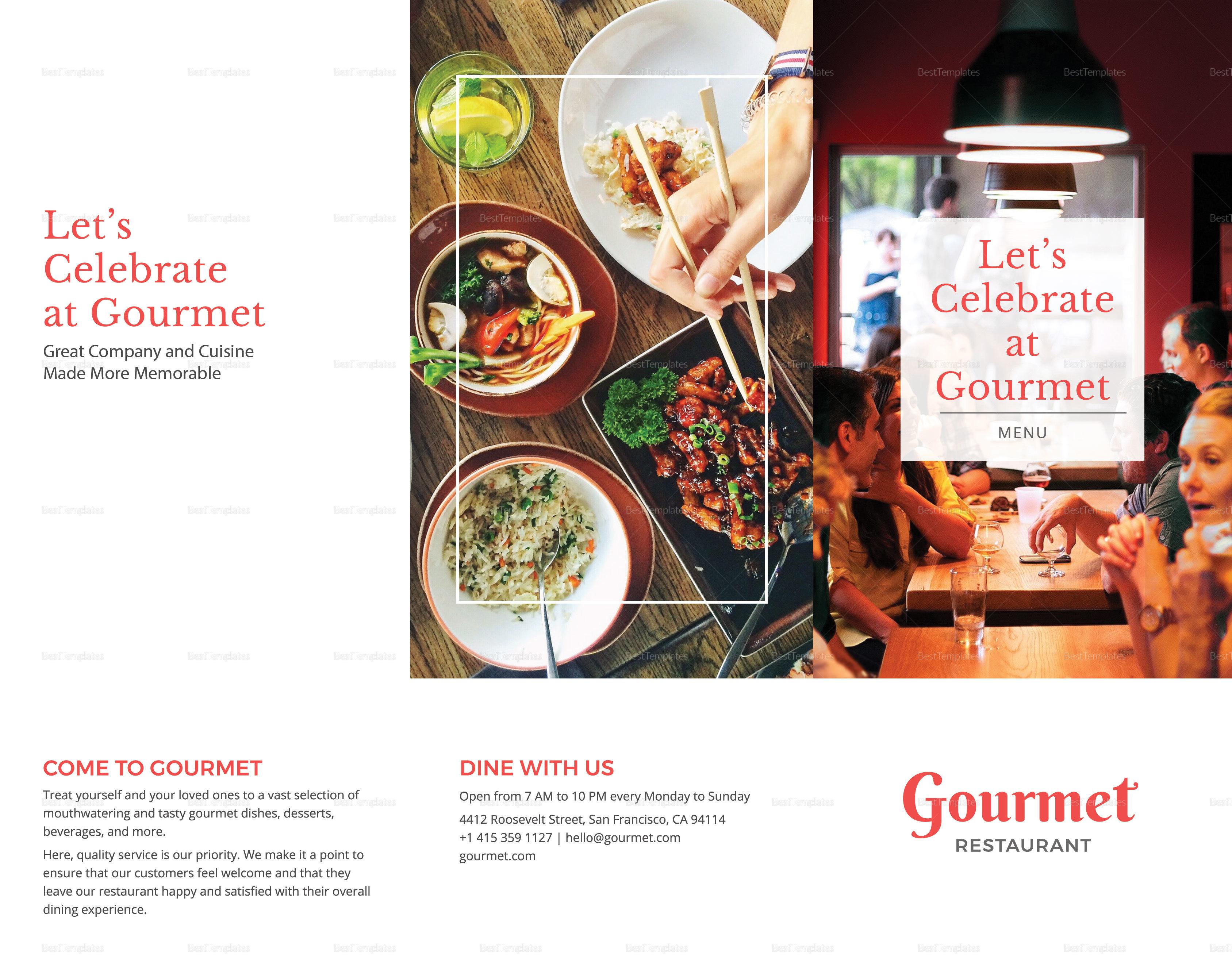 Restaurant Menu Brochure Trifold Outer