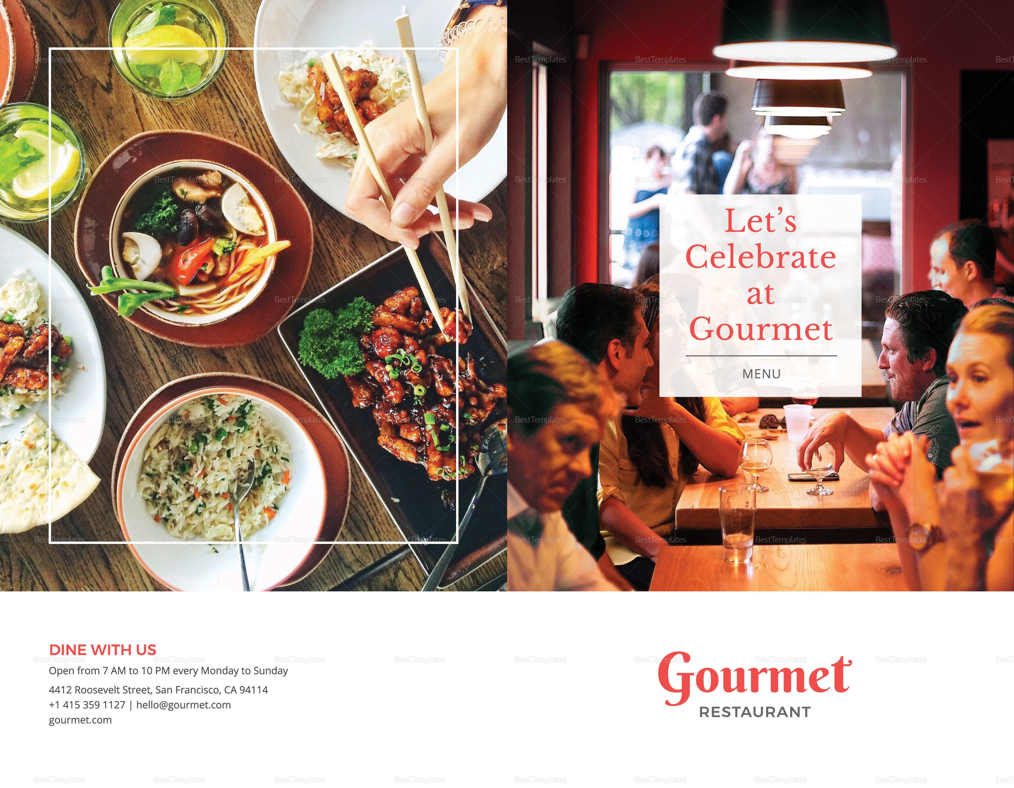 Sample Restaurant Menu Brochure Bifold Template Inner
