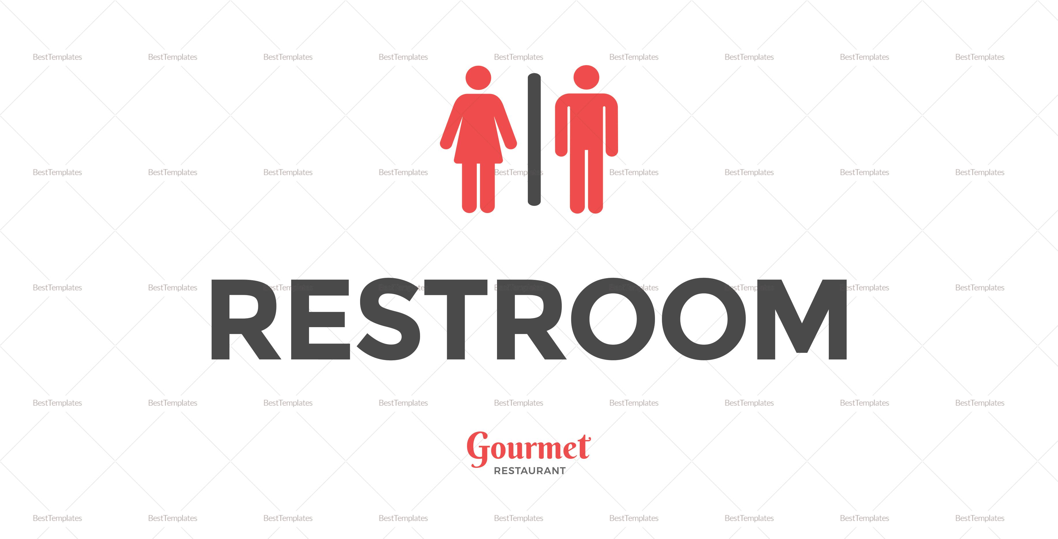 Restaurant Restroom Sign Template