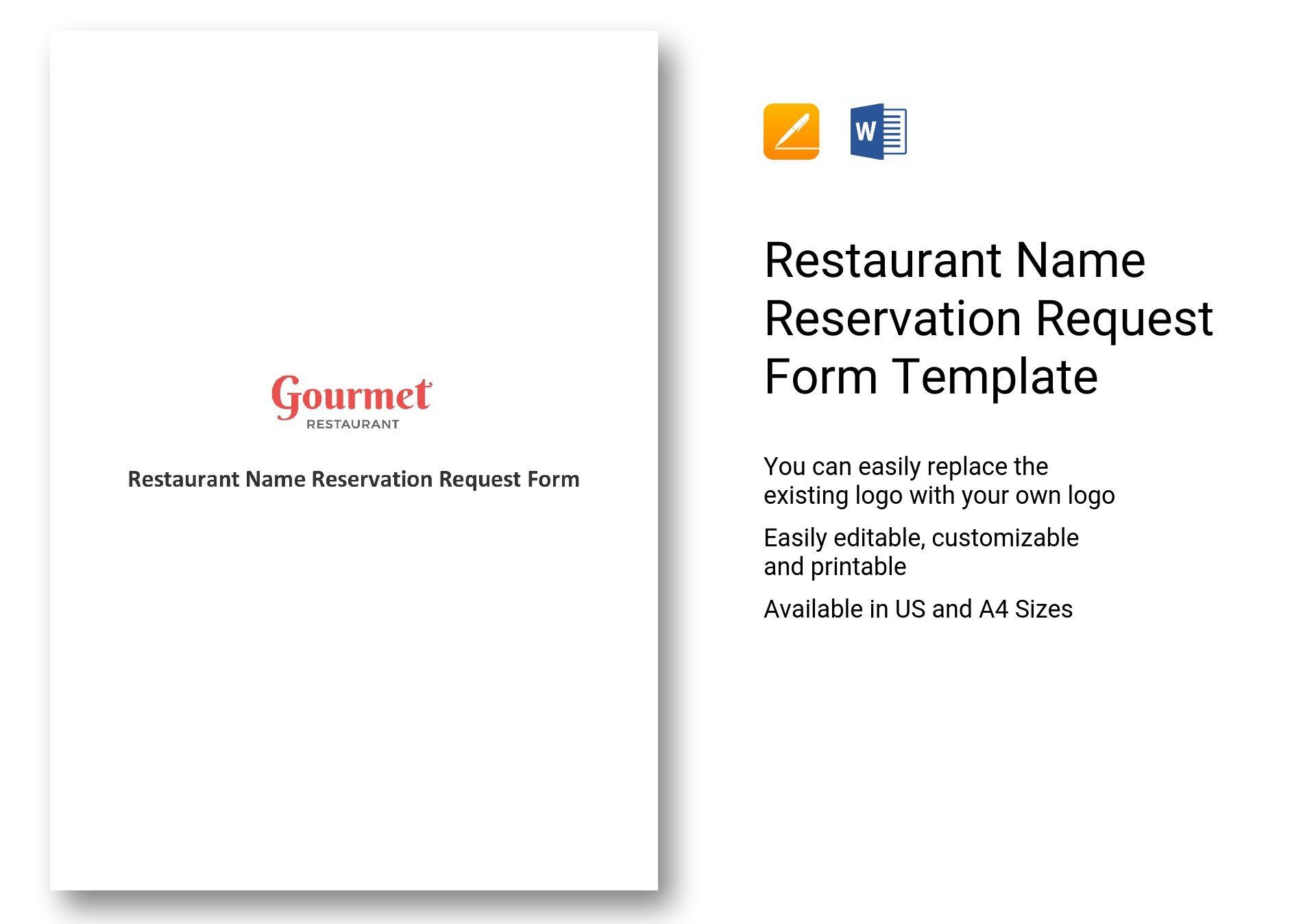 Restaurant Name Reservation Request Form