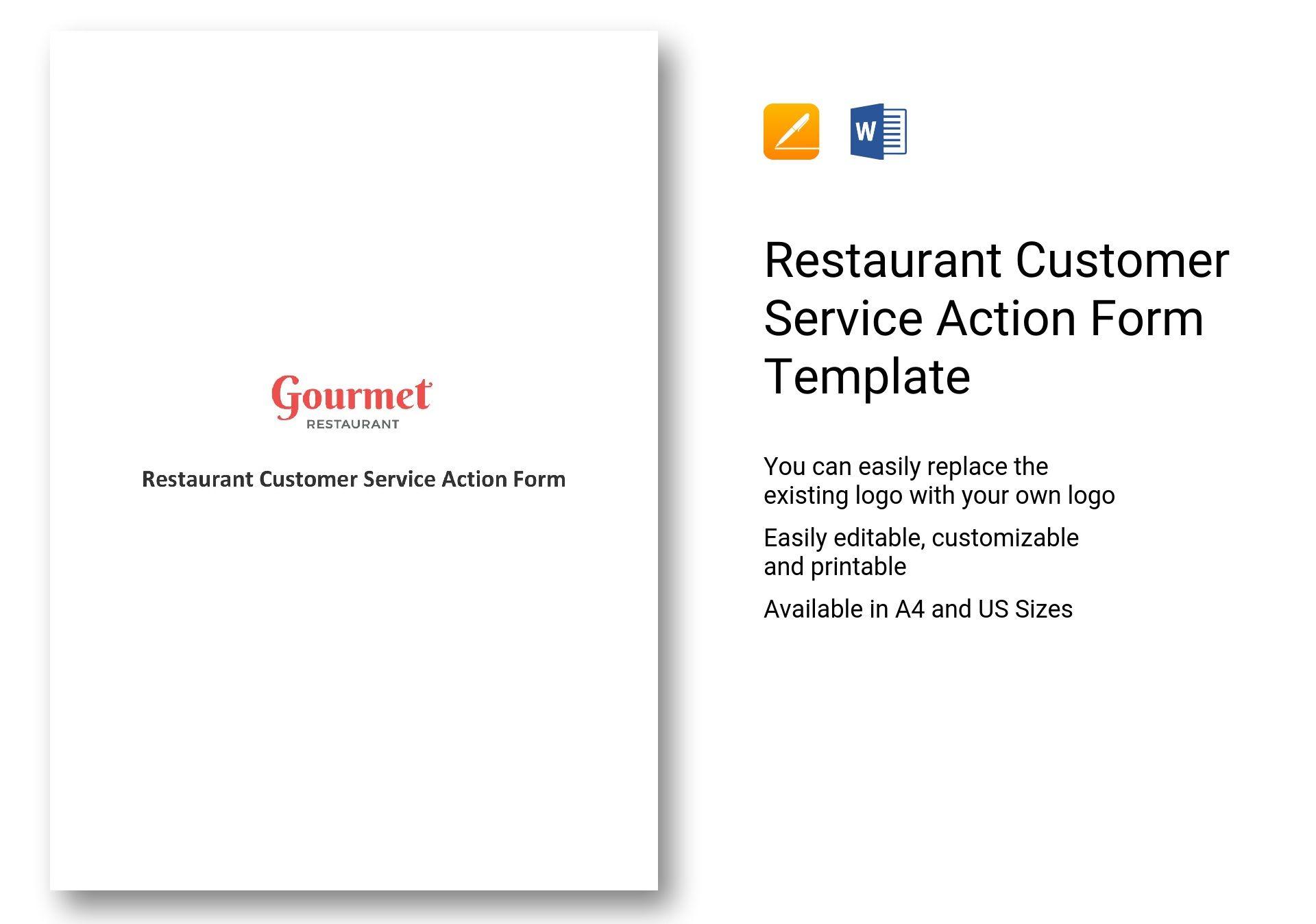 Restaurant Customer Service Action Form