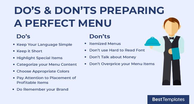 Do's & Don'ts Preparing a Perfect Menu