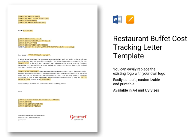 Buffet Cost Tracking Template