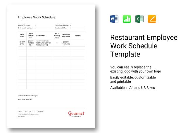 Restaurant HR Templates Hiring Payroll Policies - Restaurant work schedule template