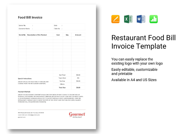 Food Bill Invoice