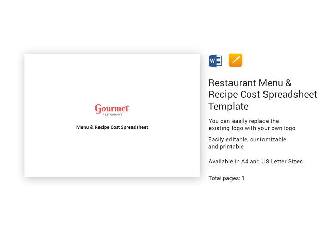 Menu & Recipe Cost Spreadsheet
