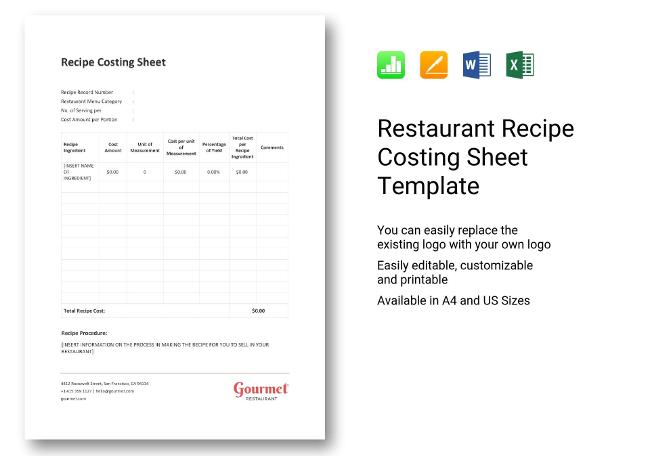 Recipe Costing Sheet Template