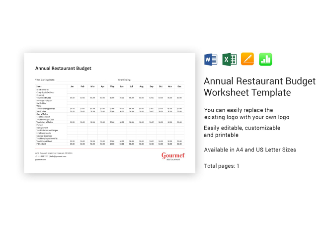 22  restaurant spreadsheets   budgeting  sales  inventory