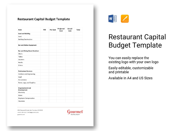 Best Restaurant Budget Template Ideas  Example Business Resume