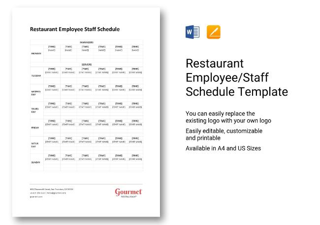 Restaurant HR Templates Hiring Payroll Policies - Restaurant staff schedule template