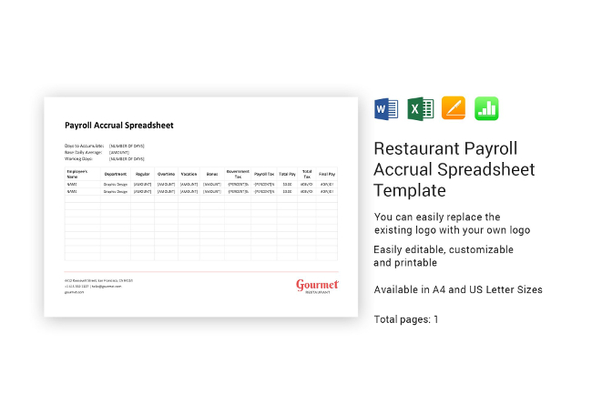 Simple Payroll Accrual Spreadsheet
