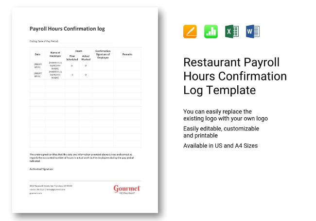 Simple Payroll Hours Confirmation Log