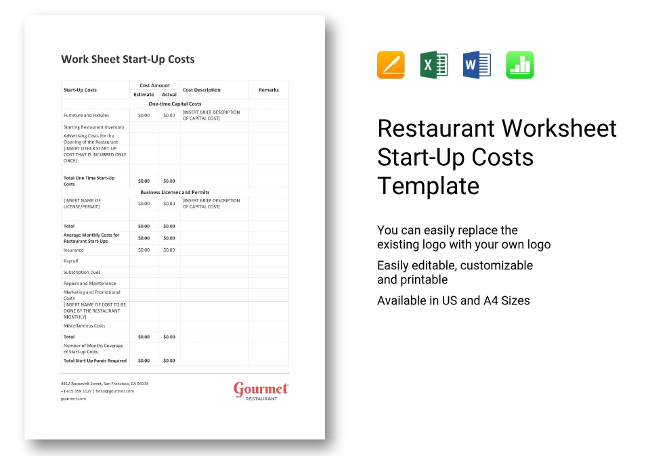Start-Up Costs Worksheets