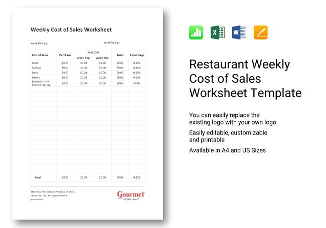 Weekly Cost of Sales Worksheet