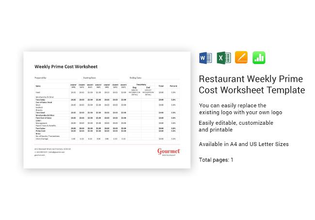 Weekly Prime Cost Worksheet