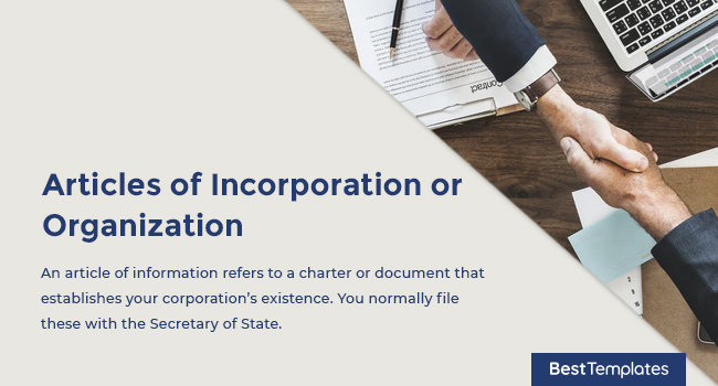 Articles of Incorporation or Organization