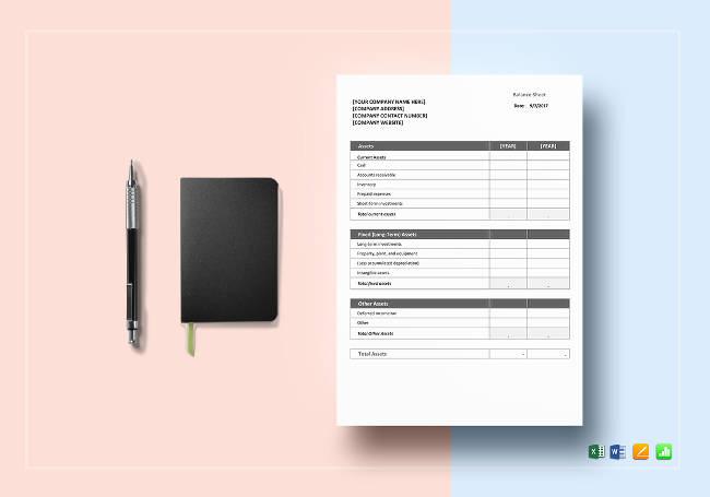 Editable Balance Sheet