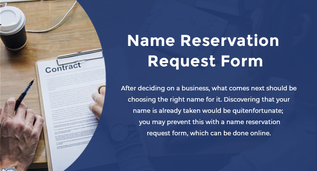 Name Reservation Request Form