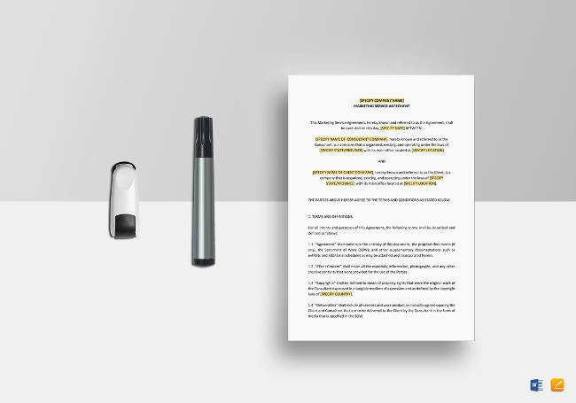 Printable Marketing Services Agreement Template