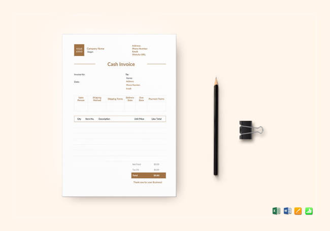 Cash Invoice Template to Edit