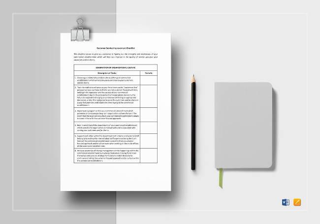 Customer Service Improvement Checklist Template