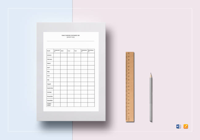 Expense Statement Yearly Template
