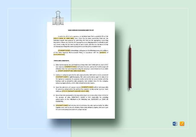 Sales Expenses Reimbursement Policy Template