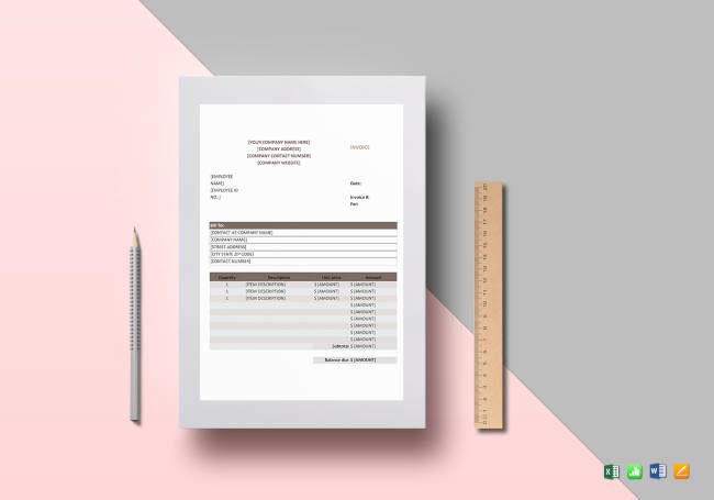 Sales Invoice Template to Print