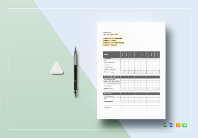 Sample Monthly Balance Sheet Template